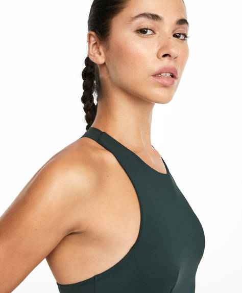 Geometric cut sports bra