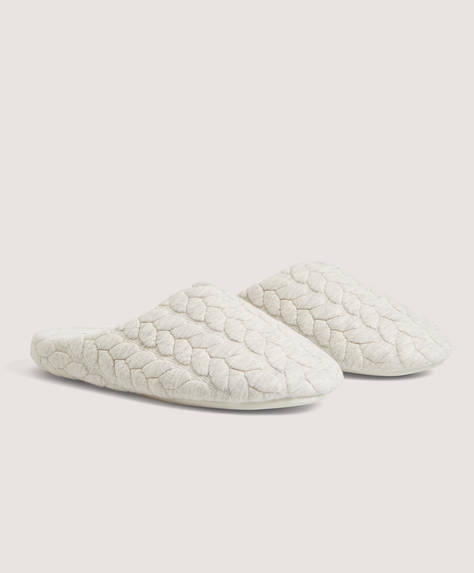 Basic cable-knit jersey slippers
