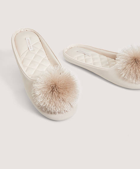 Satin pompom slippers