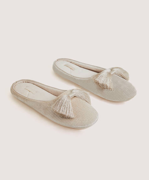 Sateen bow slippers