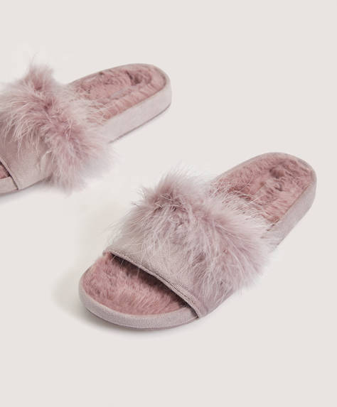 Velvet and marabou slides