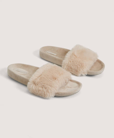 Velvet and faux-fur slides