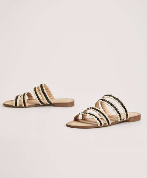 Örgü şeritli sandalet