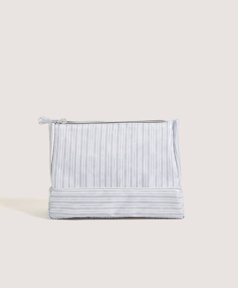 Pyjama-stripe wash bag