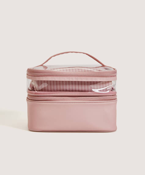 Combination wash bag with transparent detail