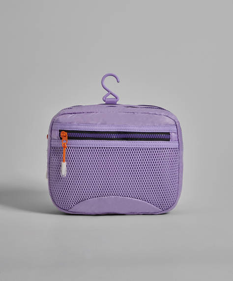 Wash bag with zip-pull detail
