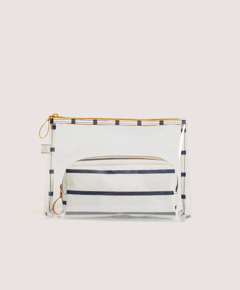 Stripe combination wash bag