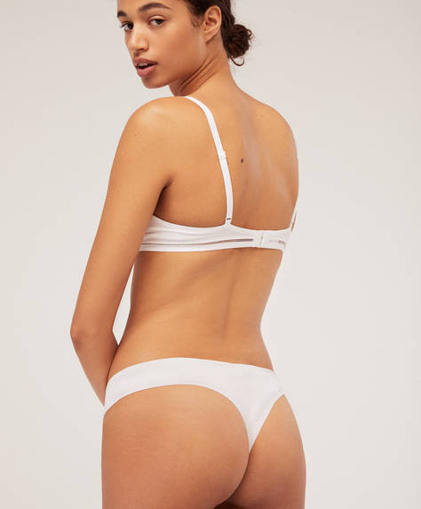 Laser-cut cotton hipster thongs
