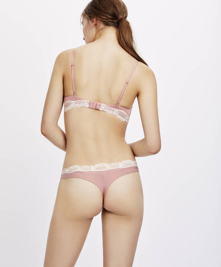 9aafcac3e85 Hipster thong with micro lace leaves - Briefs - Lingerie | Oysho België