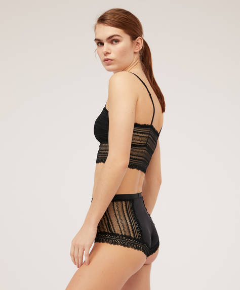 Geometric lace high rise briefs