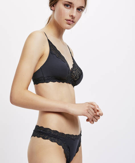 Plain modal blonde lace Brazilian briefs
