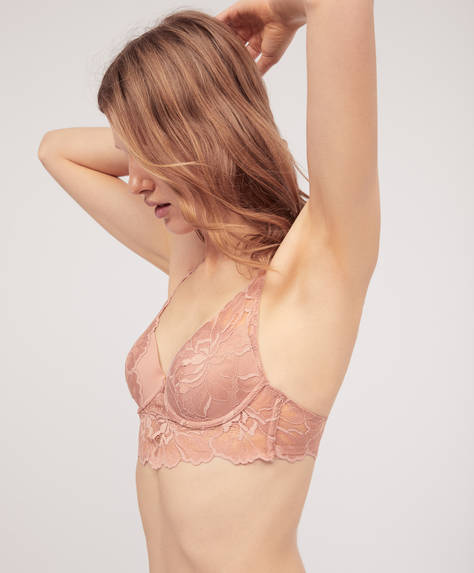 Push-up bra with large flower