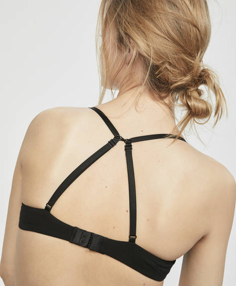 Bra with crossover back and light padding