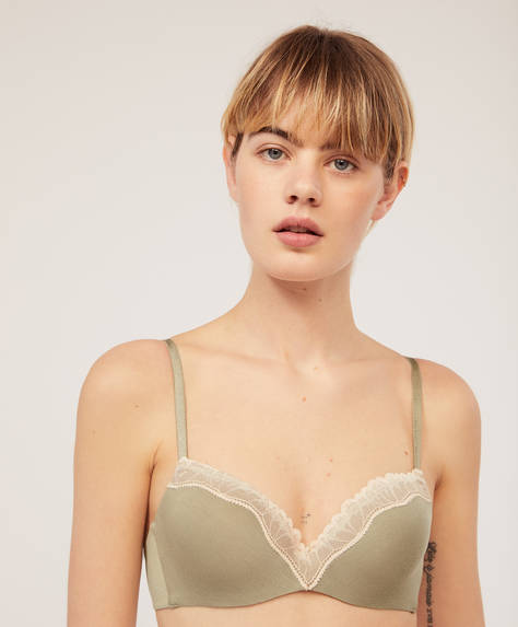 Khaki bra with lace trim and light padding