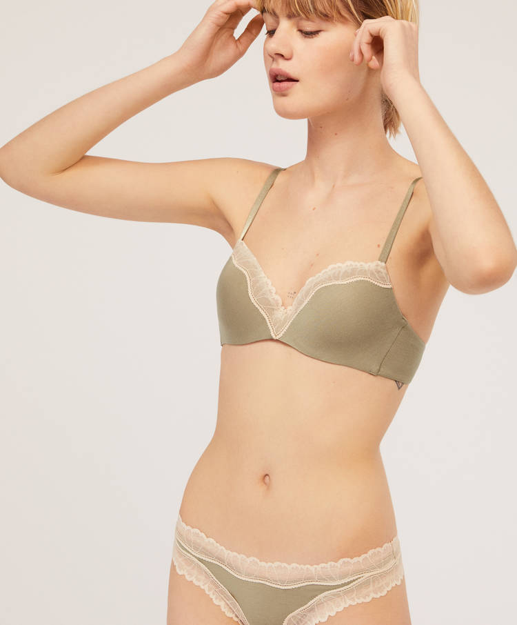 060634fbf4e Khaki bra with lace trim and light padding - A cup - Bras - Lingerie ...