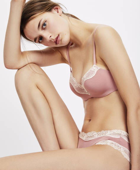 Pink lace bra with light padding
