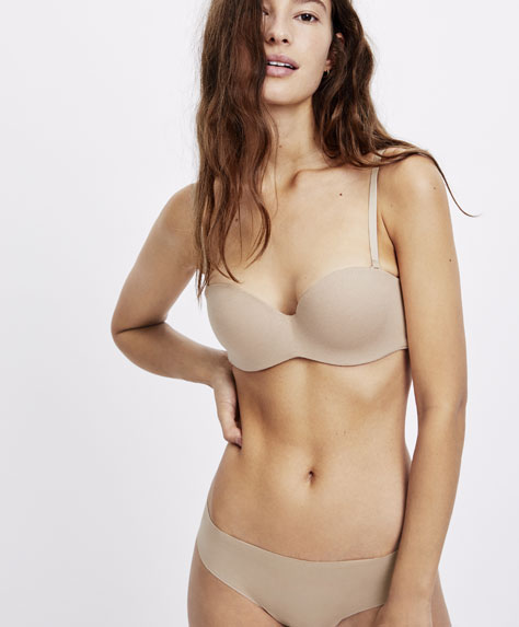Strapless padded cotton bra