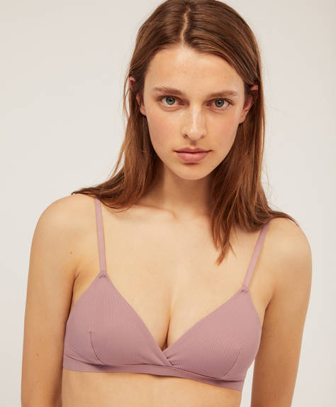 Ribbed non-wired triangle bra