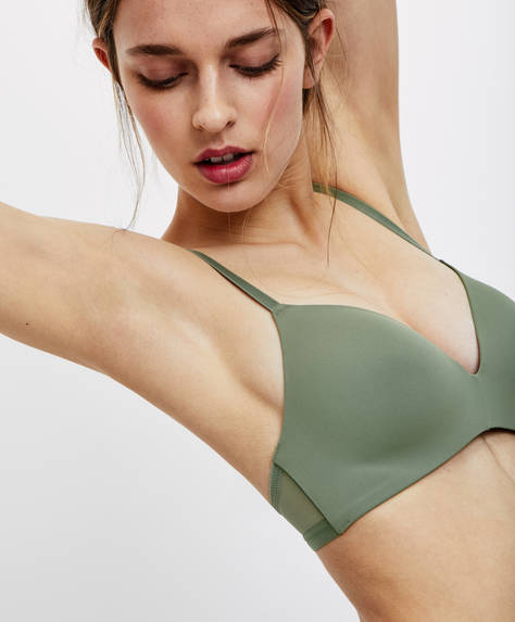 Non-wired micro-tulle bra