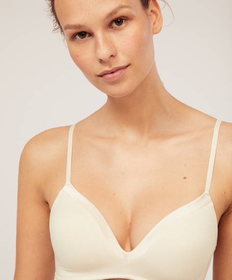 Non-wired satin bra