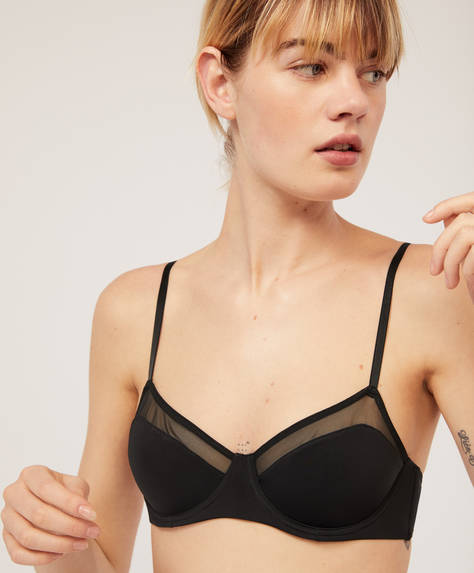 Tulle bra with underwire