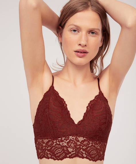 Triangular lace bralette