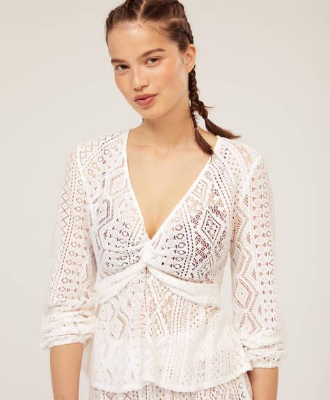 Knot front crochet T-shirt