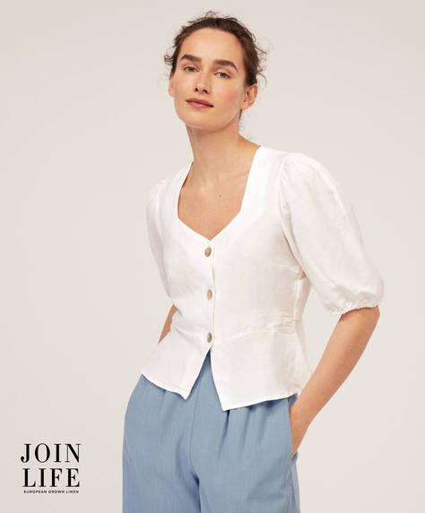 Camicia in lino con maniche a sbuffo
