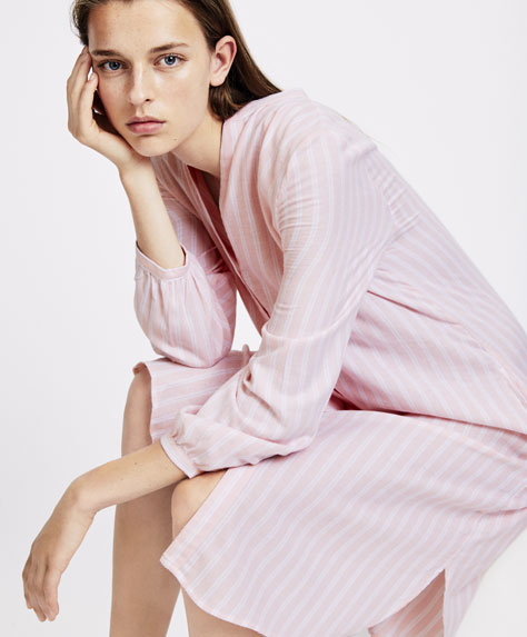 Pink striped nightdress
