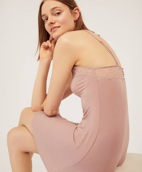 Plain modal and lace nightdress