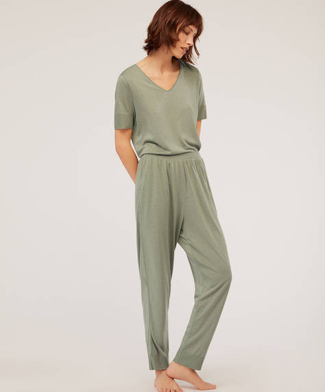 Plain green trousers