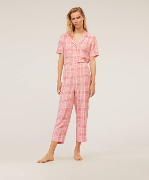 Pink check trousers