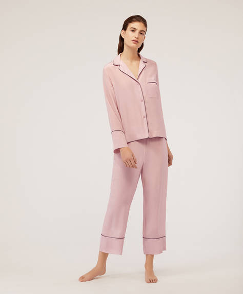 Long mauve silk trousers