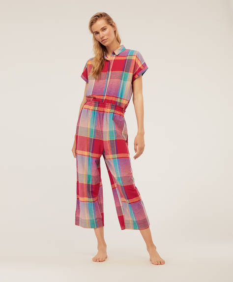 Fuchsia check trousers
