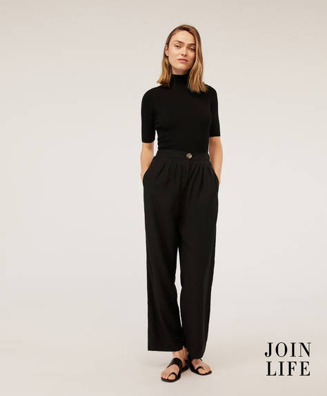 Straight-cut Tencel® trousers