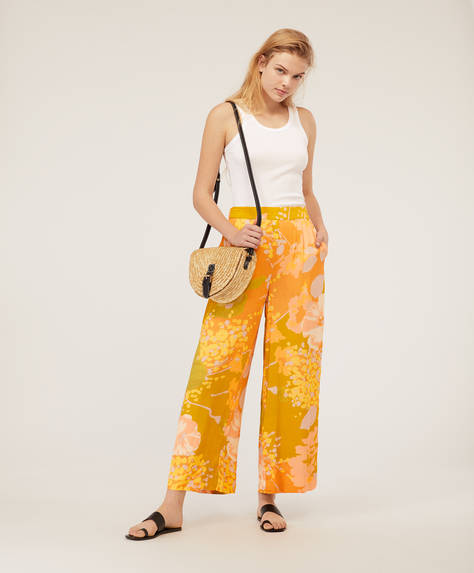 Maxi-floral wide-leg trousers