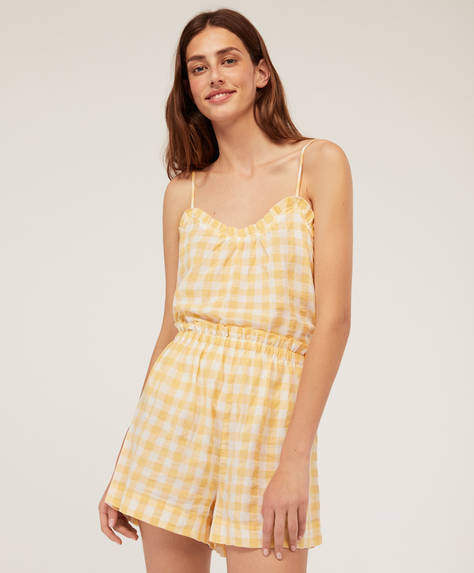 Yellow gingham check shorts