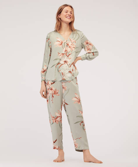 Floral orchid trousers