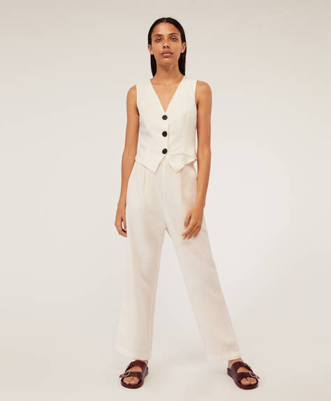 Straight cut linen trousers