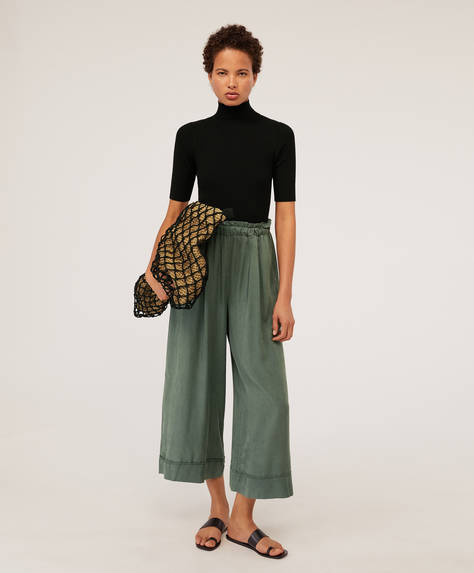 Wide-leg Tencel® trousers