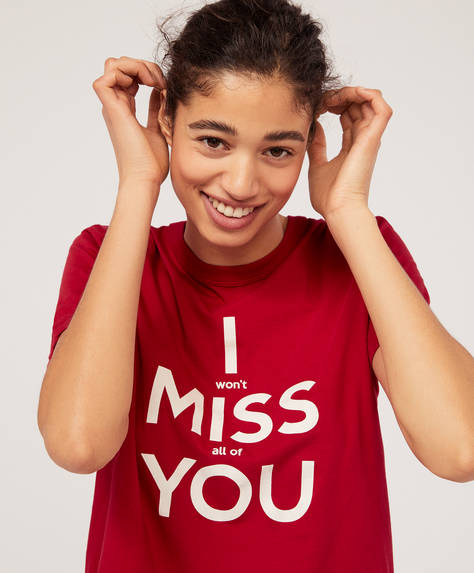 T-shirt med tekst: Miss you