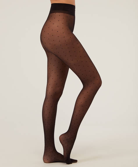 Collants tissu fin brodé 20DEN