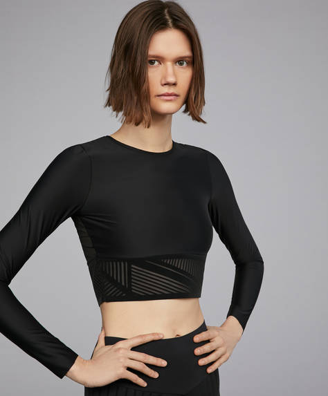 Cropped T-shirt with velvet detail