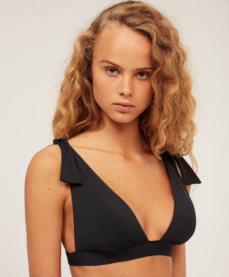 Bikinitopp med halterneck och rosett
