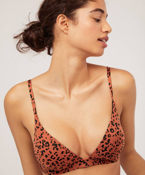 Top bikini triangular leopardo