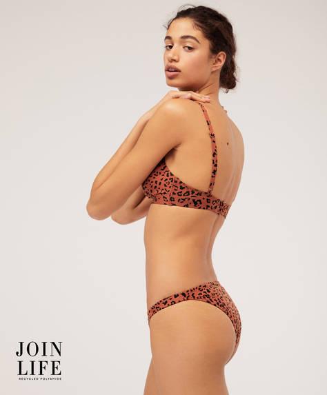 Leopar desenli Brezilya modeli bikini altı