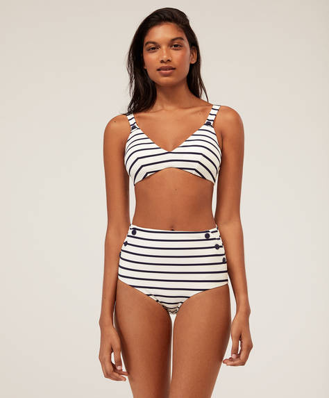High-waist striped bikini briefs
