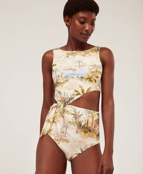Asymmetric tropical safari trikini