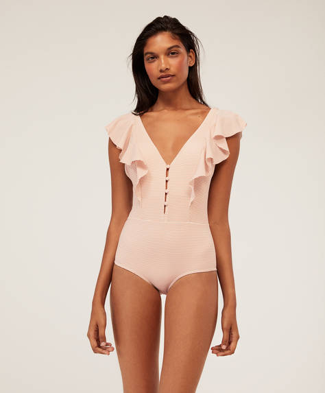 Seersucker swimsuit with two ruffles
