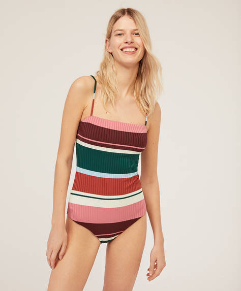 Striped ribbed bandeau swimsuit
